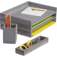 Manly decor - cement letter tray in office accessories | CB2
