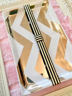 Black with Metallic Gold Stripes Planner Band / Book Band with Pen Loop