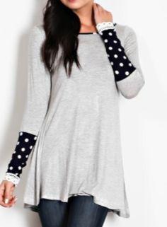 Poka Dot Lace Trim Sleeves Top