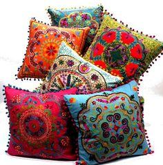 Embroidered Botanical Square Pillow - eclectic - pillows - Amazon..M.Taylor I want these for my gypsy wagon/Bohemian Blast house