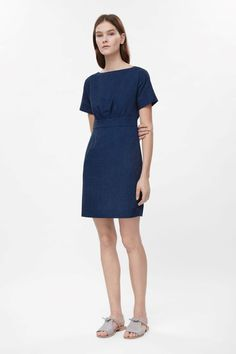 This wide-neck dress is made from soft cotton with a denim wash finish. ff62bbf51e7a