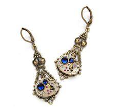 Steampunk Earrings SAPPHIRE BLUE SEPTEMBER by VictorianCuriosities, $49.00