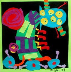 Monster collage (Juan Miro integration), for Gr Primary School Art, Artist Project, 2nd Grade Art, Ecole Art, Art Curriculum, School Art Projects, Art Lessons Elementary, Preschool Art, Matisse