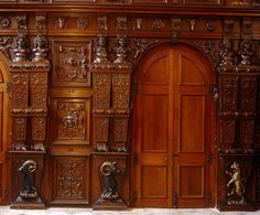 wood carving in English manor house