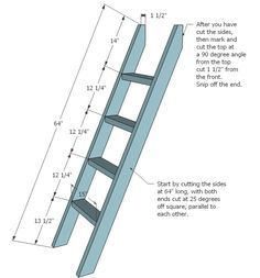Bunk Bed Ladder Brackets | ladder for the ladder cut two 2x4s 64 long with both ends cut at 25 ...