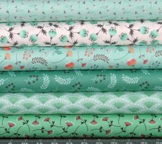 Green, Peach, Orange, and White Cotton Quilt Fabric Bundle, Camelot Make a Wish Collection, Fat Quarter, Fabric by the Yard, Fabric for Sale by fabric406 on Etsy