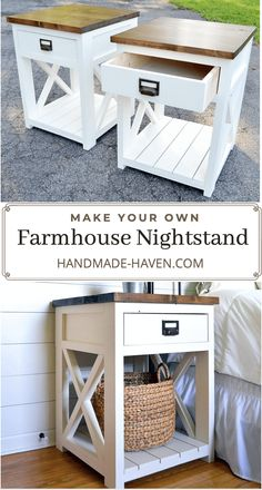 Farmhouse Nightstand Farmhouse nightstand plans that will give your bedroom a Joanna Gaines farmhouse vibe. These free DIY nightstand plans are an easy step-by-step tutorial on how to recreate a farmhouse nightstand for your home. Diy Living Room Furniture, Diy Furniture Table, Diy Furniture Plans Wood Projects, Farmhouse Furniture, Home Furniture, Furniture Layout, Pallet Bedroom Furniture, Diy Home Decor Projects, Furniture Ideas