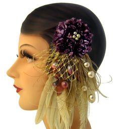 2e36874eb67 Feather Flower Fascinator - The Candace - Plum