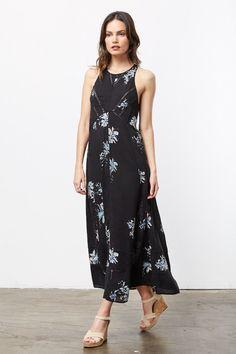 Bridges Long Black Floral Dress