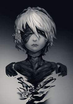 NieR: Automata 2B, Amos Yan on ArtStation at https://www.artstation.com/artwork/qBLbe