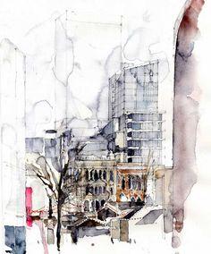 Artist Spotlight: Simone Ridyard, painter of cites, towns, and rooftops Landscape Drawings, Architecture Drawings, Watercolor Sketch, Watercolor Paintings, Watercolours, Moleskine, Illustration Art, Illustrations, Urban Sketchers