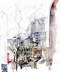 Albert Square, Manchester an architectur  lwatercolour by Simone Ridyard