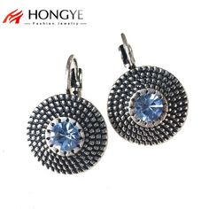 Vintage Silver Stud Earrings for Women Simple Blue Zircon Charms Statement  Clip on hanging Earrings Fashion Jewelry Brincos d81d997c6496