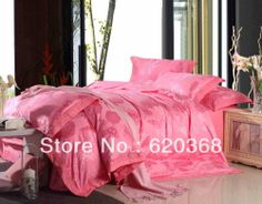 Aliexpress.com : Buy 100% COTTON  Huadu Raider Pink Satin Jacquard bedding sets/ bed set duvet cover Bedding sheet bedspread pillowcase from Reliable sheets for double bed suppliers on Yous Home Textile $85.00
