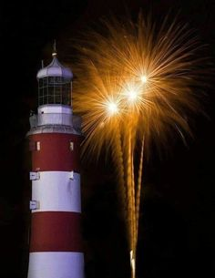 July 4th Fireworks by a Lighthouse