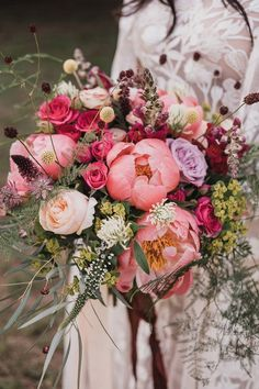 Woodland Wedding & Tipi Reception With Bride In Hermione De Paula Gown Pink Peony Wedding Bouquet Peony Bouquet Wedding, Peonies Bouquet, Bride Bouquets, Bridal Flowers, Pink Peonies, Pink Flower Bouquet, Romantic Wedding Flowers, Bridal Bouquet Pink, Floral Bouquets