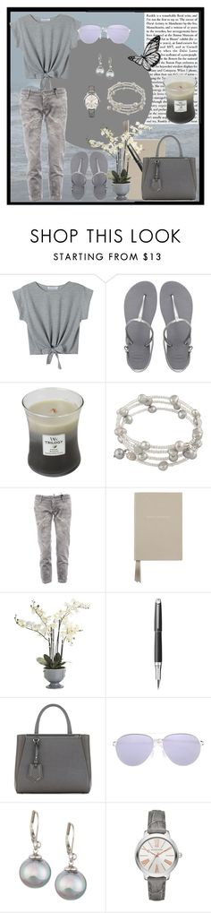 """""""Runnings Errands: Stormy Sky (gray and silver)"""" by brigitta-m ❤ liked on Polyvore featuring WithChic, Havaianas, WoodWick, Dsquared2, Smythson, Pier 1 Imports, Caran D'Ache, Fendi, Mykita and Majorica"""