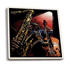 Jazz Band  Scratchboard  LP Artwork Set of 4 Ceramic