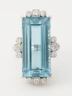 Vintage Platinum 18 Ct Aquamarine 0 60 cttw Diamond Ring | eBay