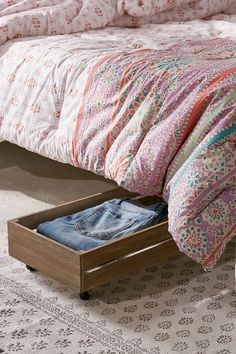 Under-The-Bed Rolling Wood Storage Box