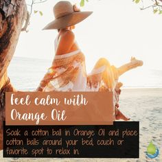 Feel calm with Orange Oil 🌸🌸🌸 oak a cotton ball in Orange Oil and place…