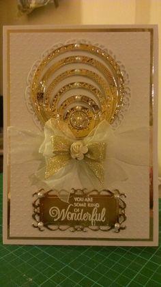 Made using Spellbinders Gold Rounds One, Stately Circles, Resplendent Rectangles & Polka Dot Embossing Folder.