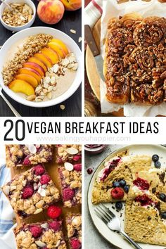 Quick and Easy Vegan Breakfast Ideas Quick and Easy Vegan Breakfast Ideas, a compilation of 20 menu ideas to mix up your breakfast routine and get your family eating healthier! Vegan Recipes Videos, Vegan Recipes Easy, Gourmet Recipes, Vegetarian Recipes, Vegan Ideas, Vegan Brunch Recipes, Vegan Menu, Healthy Vegan Breakfast, Health Breakfast