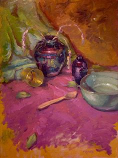 Iridescent: Original still life oil painting 18 x 24 by Dave Froude