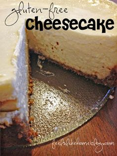 Joe and I dated over cheesecake. It's the one dessert he really enjoys, and I often ordered a slice when we went out to dinner and shared it with him. Now that we're married, I make him order his o. Gluten Free Deserts, Gluten Free Sweets, Gluten Free Cakes, Foods With Gluten, Gluten Free Cooking, Vegan Gluten Free, Gluten Free Recipes, Sem Gluten Sem Lactose, Cheesecake Recipes