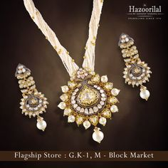 Crafted in a twisted mix of pearls & semi-precious stones studded patterns set in gleaming gold, this gorgeous pendant from Hazoorilal By Sandeep Narang will surely turn heads in awe. Explore our collection here.