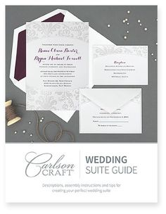 Once you've found your dream invitation, let us take the stress out of assembling, addressing and mailing. Our helpful Wedding Suite Guide will assist you with every detail of your wedding suite.