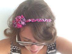 pink purple flowered braided headband by falibe on Etsy #italiasmartteam #etsyshop #etsy #shopping #giftidea @etsy