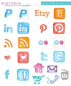 Hand Painted Watercolor Social Media & Web Icons - For Personal and Commercial Use. $8.00, via Etsy. #blog #icons