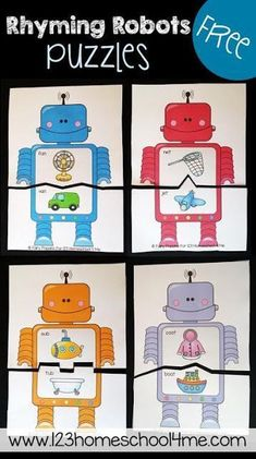 Here are FREE Robots Game Printables. These rhyming robot puzzles are for kids who are at the first step and need visual support to spot words t