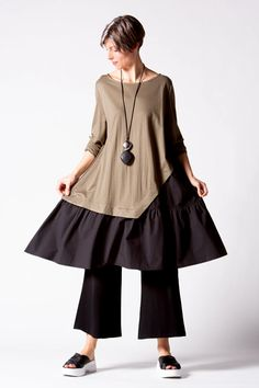 Lana Dress in Taupe/Black | KALIYANA.COM Bell Sleeves, Bell Sleeve Top, Eclectic Style, Taupe, Ballet Skirt, Comfy, Boho, Skirts, Black