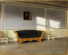 Interiors Painting by Danish Artist Vilhelm Hammershoi (1864-1916).Hammershøi worked mainly in his native city, painting portraits, architecture, and interiors. He also journeyed to the surrounding countryside and locations beyond, where he painted rolling hills, stands of trees, farm houses, and other landscapes. He is most celebrated for his interiors, many of which he painted in Copenhagen at Strandgade 30 (where he lived with his wife from 1898 to 1909, and Strandgade Biedermeier…