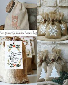 eco-friendly winter wedding favor bags burlap www.MadamPaloozaEmporium.com www.facebook.com/MadamPalooza