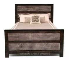 This Rustic Chic Bed Is Handcrafted From Reclaimed Distressed Gray Sliver Barn Wood And Sustainable Woods In Custom Made Sizes Layouts
