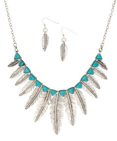 This Silver & Turquoise Feather Bib Necklace & Earrings is perfect! #zulilyfinds...awesome for belly dance
