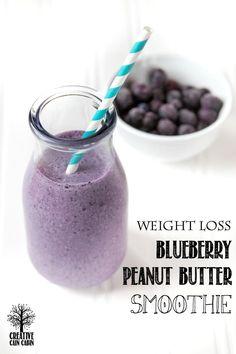 20/20 Diet   Dr. Phil  Blueberry Peanut Butter Smoothie   CreativeCainCabin.com #weightlossbeforeandafter