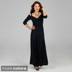 Tabeez Women s Black Off-shoulder Long Jersey Dress  e8057e22b