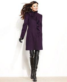 DKNY Plus Size Coat, Ruffle-Front Wool-Blend Walker - Coat & Jacket Specials - Plus Sizes - Macy's