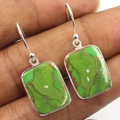 925 Sterling Silver Jewelry Earrings GREEN COPPER TURQUOISE Gemstones Best Gift #Unbranded #DropDangle