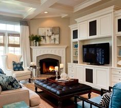 How to decorate around a corner fireplace (image source: Caroline Burke Designs