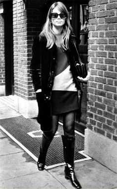 """isabelcostasixties: """"Françoise Hardy in New York City with a YSL mini dress """""""