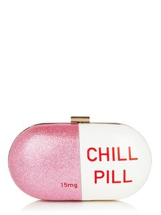 Take a chill pill. Hard shell purse with detachable chain to transform it into a clutch for on the go or a night out. Pink/white with red text. Pair it with our Chill Pills Iphone Pink Shoulder Bags, Crossbody Shoulder Bag, Shoulder Handbags, Crossbody Bag, Satchel, Novelty Handbags, Novelty Bags, Pink Handbags, Unique Purses