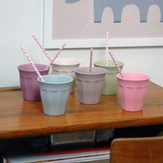 Zuperzozial bamboo cup set of 6 pieces in pastel shades is dishwasher / Living Roots
