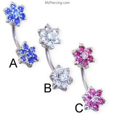 Navel Ring With Double Jeweled Flower Ends on MsPiercing