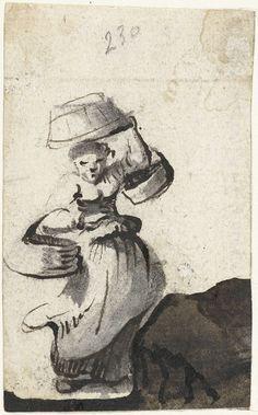 Vrouw lopend met drie emmers, Harmen ter Borch, 1651
