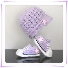 Converse style crochet knit handmade baby satin star hat and trainers on Etsy, $46.13